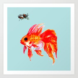 Goldfish and Cicada Art Print