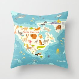 Animals world map, North America. Colorful cartoon vector illustration for children and kids. Presch Throw Pillow
