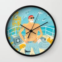 murray Wall Clocks featuring Thrill Murray by Nicholas Stevenson