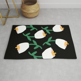 Tulips Dancing in White on Black Rug