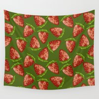 strawberry Wall Tapestries featuring Strawberry by Julia Badeeva