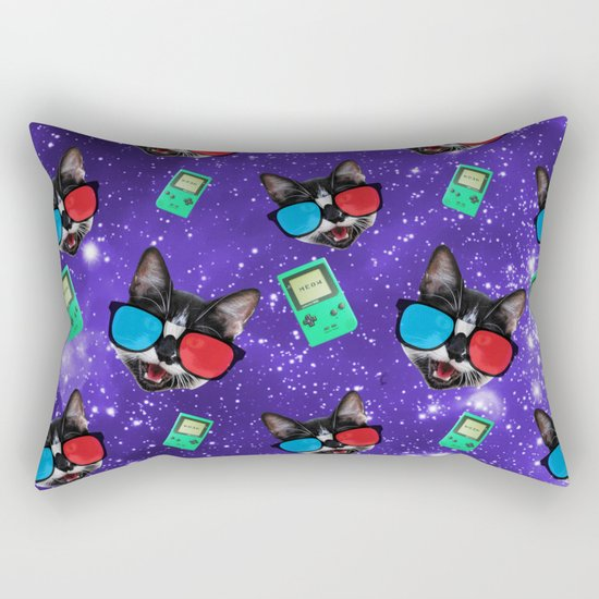Nerdy Cat Rectangular Pillow
