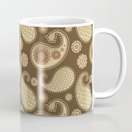 Paisley pattern, Soft Gold on Chocolate Brown Coffee Mug