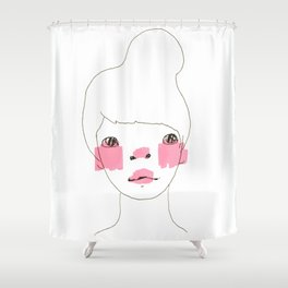 Line Drawing of a Girl in Neon  Shower Curtain