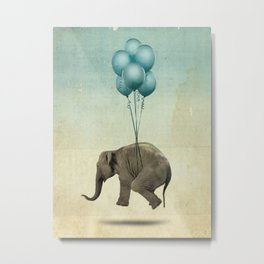 Levitating Elephant Metal Print