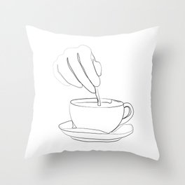 """ Kitchen Collection "" - Hand mixing coffee with a spoon Throw Pillow"