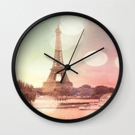 Paris Eiffel Tower Warm Bokeh Wall Clock
