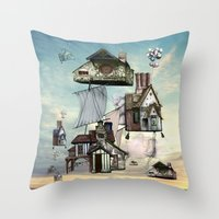 house Throw Pillows featuring house by Кaterina Кalinich