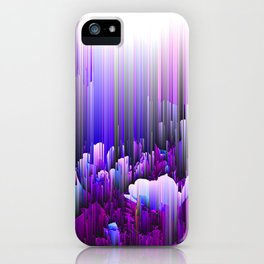 Rain of Lavender - Glitched Abstract Pixel art iPhone Case