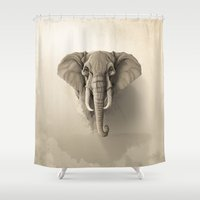 elephant Shower Curtains featuring Elephant by Rafapasta