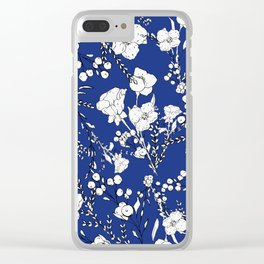 Botanical hand painted navy blue white floral Clear iPhone Case