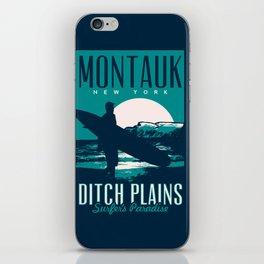 montauk ditch plains vintage surf poster iPhone Skin