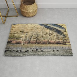 Landscape with Turkeys and Trees Rug