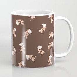 Vintage pink roses pattern on almond brown Coffee Mug