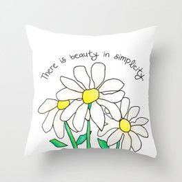 Simplistic Daisies in White Throw Pillow