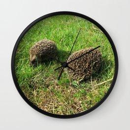 two little babies at play green grass hedgehog Wall Clock