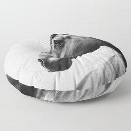 Horses - Black & White 2 Floor Pillow