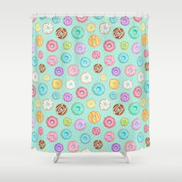 Scattered Rainbow Donuts on spotty mint - repeat pattern Shower Curtain