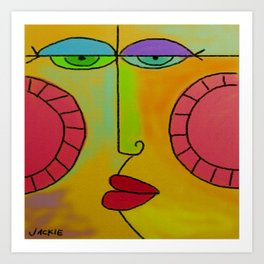 Funky Face Abstract Digital Painting Art Print