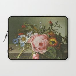 Rachel Ruysch - Spray of flowers, with a beetle on a stone balustrade Laptop Sleeve