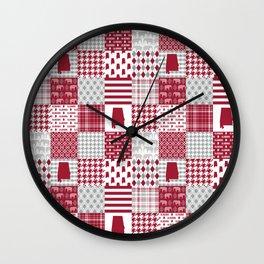 Alabama bama crimson tide cheater quilt state college university pattern footabll Wall Clock