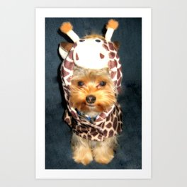 Dog   Happy Giraffe   Yorkie Puppy   Dogs   Puppies   Pets Art Print