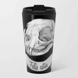 Cat skull in ink Travel Mug