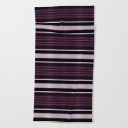 Elegant Bold Purple and Siver Stripes Beach Towel