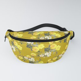 Mustard yellow botanical Floral watercolor /  Yellow Roses on mustard Fanny Pack