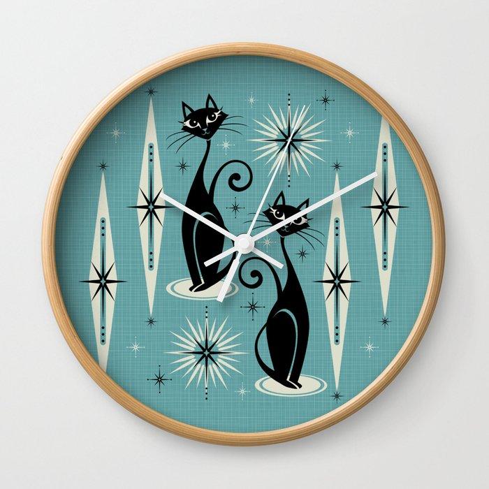 Mid Century Meow Retro Atomic Cats on Blue Wall Clock
