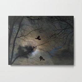 Crows Lit By A Full Moon Metal Print