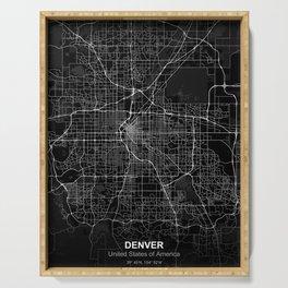 Denver city map black Serving Tray
