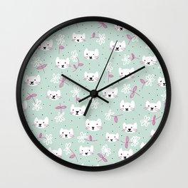 Little flowers kitty cat sweet kawaii illustration pattern mint Wall Clock