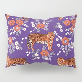 Tiger Clemson purple and orange florals university fan variety college football Pillow Sham