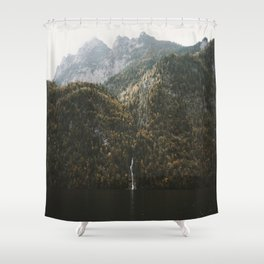 Autumn Waterfall at the Mountain Lake - Landscape Photography Shower Curtain