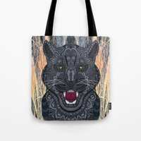 panther Tote Bags featuring Panther by ArtLovePassion