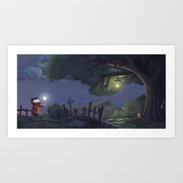Walk with my little moon Art Print