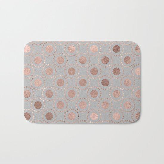 Rosegold pink metalfoil polkadots on grey background 1 Bath Mat