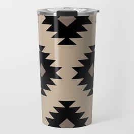Southwestern Pattern 522 Black and Beige Travel Mug