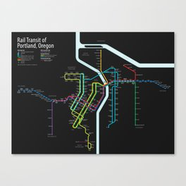 Rail Transit of Portland, Oregon Canvas Print