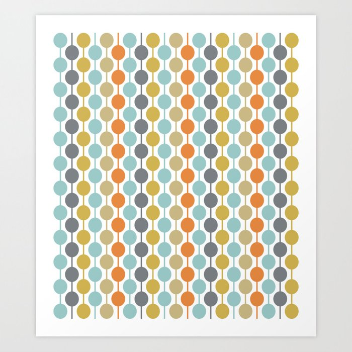 Retro Circles Mid Century Modern Background Kunstdrucke