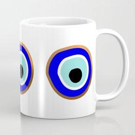 Grecian Gold evil eye in blue on white Coffee Mug