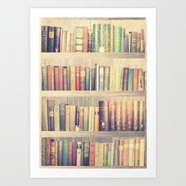 Dream with Books - Love of Reading Bookshelf Collage Art Print