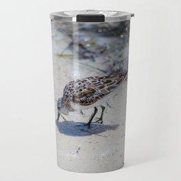 Single Bird on the Beach Travel Mug