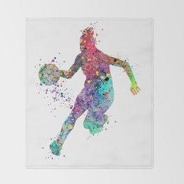 Girl Basketball Watercolor Print Basketball Wall Art Basketball Poster Basketball Wall Decor Throw Blanket