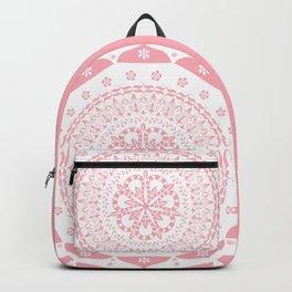 Dusky Pink Frosted Flower Mandala Backpack
