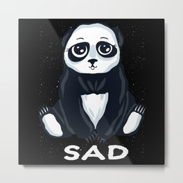 Sad Mood Panda Mourning Pandas Sadness Metal Print