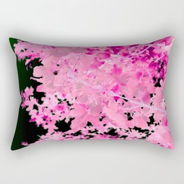 Abstract Tree Landscape Dark Botanical Art, green, black and pink Rectangular Pillow