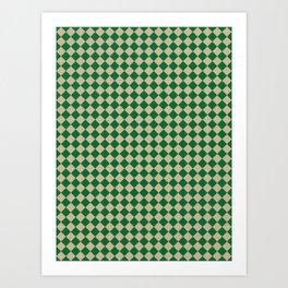 Tan Brown and Cadmium Green Diamonds Art Print