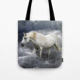 """""""AT ONE WITH THE SEA""""  White Horse In the Surf Tote Bag"""